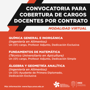 Convocatoria para cobertura de cargos docentes por contrato modalidad virtual