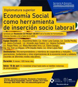 """Postítulo: Diplomatura Superior """"Economía Social como herramienta de inserción socio laboral"""