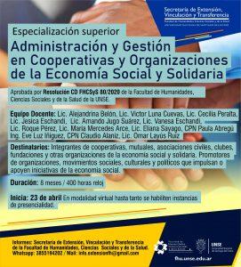 Postítulo Especialización Superior en Administración y Gestión en Cooperativas y Organizaciones de la Economía Social y Solidaria
